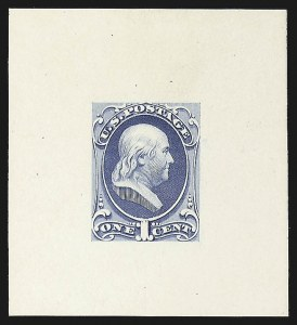 Sale Number 816, Lot Number 1611, 1c National Bank Note Co. Issue Essays1c Franklin, Large Die Essay on White Glazed Paper (145-E8b), 1c Franklin, Large Die Essay on White Glazed Paper (145-E8b)