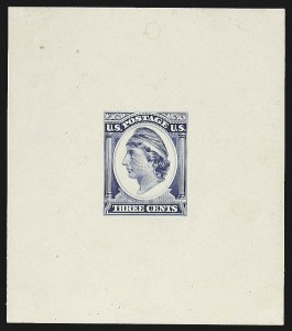 Sale Number 816, Lot Number 1666, 1c-3c Continental Bank Note Co. Essays3c Liberty, Continental Die Essay on White Glazed Paper (184-E11c), 3c Liberty, Continental Die Essay on White Glazed Paper (184-E11c)