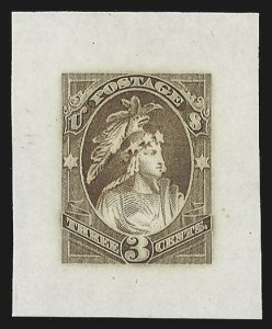 Sale Number 816, Lot Number 1675, 1c-3c Continental Bank Note Co. Essays3c Indian Maiden, Continental Die Essay on India (184-E16), 3c Indian Maiden, Continental Die Essay on India (184-E16)