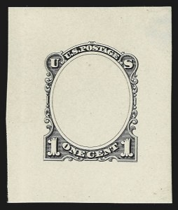 Sale Number 816, Lot Number 1677, Continental, American Bank Note Co. Essays1c Black, Frame Only, Die Essay on  White Glazed Paper (206-E1a), 1c Black, Frame Only, Die Essay on  White Glazed Paper (206-E1a)
