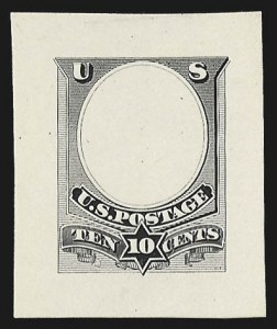 Sale Number 816, Lot Number 1685, Continental, American Bank Note Co. Essays10c Black, Unadopted Frame, Die Essay on White Glazed Paper (209-E2c), 10c Black, Unadopted Frame, Die Essay on White Glazed Paper (209-E2c)