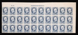 Sale Number 816, Lot Number 1724, Bank Note Plate Proofs (section a)1c Ultramarine, Plate Proof on India (145P3), 1c Ultramarine, Plate Proof on India (145P3)