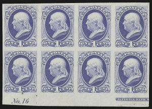 Sale Number 816, Lot Number 1725, Bank Note Plate Proofs (section a)1c Ultramarine, Plate Proof on India (145P3), 1c Ultramarine, Plate Proof on India (145P3)