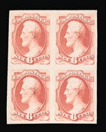 Sale Number 816, Lot Number 1729, Bank Note Plate Proofs (section a)6c Carmine, Plate Proof on India (148P3), 6c Carmine, Plate Proof on India (148P3)