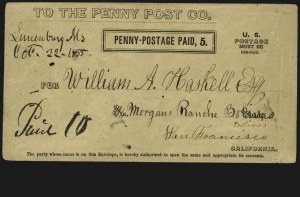 Sale Number 817, Lot Number 878, California Penny Post Co. (San Francisco CA) (Part II)California Penny Post Co., San Francisco, 5c Black on Buff Entire (34LU9), California Penny Post Co., San Francisco, 5c Black on Buff Entire (34LU9)