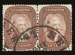Sale Number 821, Lot Number 326, 3c-5c 1857-60 Issue5c Brick Red (27), 5c Brick Red (27)