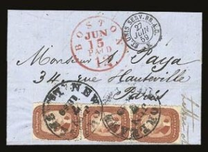Sale Number 821, Lot Number 327, 3c-5c 1857-60 Issue5c Brick Red (27), 5c Brick Red (27)