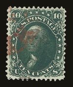 Sale Number 821, Lot Number 382, 1861-66 Issue (Scott 62B - 70c)10c Dark Green, First Design (62B), 10c Dark Green, First Design (62B)