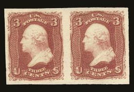 Sale Number 821, Lot Number 386, 1861-66 Issue (Scott 62B - 70c)3c Lake, Imperforate (66a), 3c Lake, Imperforate (66a)