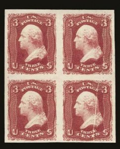 Sale Number 821, Lot Number 387, 1861-66 Issue (Scott 62B - 70c)3c Lake, Imperforate (66a), 3c Lake, Imperforate (66a)