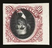 Sale Number 821, Lot Number 78, Essays and Proofs (1847 Issue to 1869 Issues)90c Carmine & Black, Center Inverted, Plate Proof on Card (122aP4), 90c Carmine & Black, Center Inverted, Plate Proof on Card (122aP4)