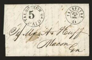 Sale Number 823, Lot Number 433, Postmasters Provisionals (Raleigh to Victoria, Tex.)Talbotton Ga., 5c Black entire (94XU1), Talbotton Ga., 5c Black entire (94XU1)