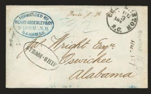 Sale Number 823, Lot Number 555, Inbound Blockade-Run MailForwarded by Henry Adderley & Co. Nassau. N.P. Bahamas, Forwarded by Henry Adderley & Co. Nassau. N.P. Bahamas
