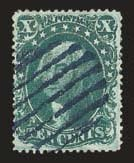 Sale Number 824, Lot Number 124, 1857-60 Issue10c Green, Ty. IV (34), 10c Green, Ty. IV (34)