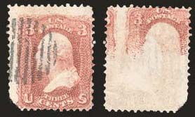 Sale Number 824, Lot Number 150, 1861-66 Issue3c Rose, Printed on Both Sides (65e), 3c Rose, Printed on Both Sides (65e)