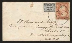 Sale Number 824, Lot Number 371, CarriersHonour's City Post, Charleston S.C., (2c) Black on Bluish (4LB13), Honour's City Post, Charleston S.C., (2c) Black on Bluish (4LB13)