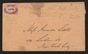 Sale Number 824, Lot Number 385, Locals (A thru E)Bouton's Manhattan Express, New York N.Y., 2c Black on Pink (17L1), Bouton's Manhattan Express, New York N.Y., 2c Black on Pink (17L1)