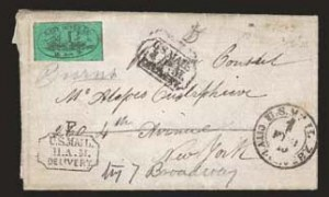 Sale Number 824, Lot Number 400, Locals (A thru E)East River Post Office, New York N.Y., (1c) Black on Green Glazed (62L4), East River Post Office, New York N.Y., (1c) Black on Green Glazed (62L4)