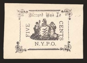 Sale Number 825, Lot Number 1588, Local Posts (Bentleys Madison Square to Blizzard Mail)Blizzard Mail, New York N.Y., 5c Black (163L1), Blizzard Mail, New York N.Y., 5c Black (163L1)