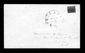 Sale Number 825, Lot Number 1692, Local Posts (Boyds to Cheever & Towle)G. Carter's Despatch, Philadelphia Pa., 2c Black (36L1), G. Carter's Despatch, Philadelphia Pa., 2c Black (36L1)