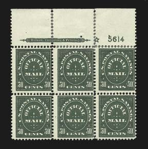 Sale Number 826, Lot Number 1004, Officials50c Postal Savings (O122), 50c Postal Savings (O122)