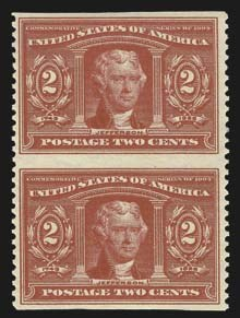 Sale Number 826, Lot Number 621, Louisiana Purchase, Jamestown Issues2c Louisiana Purchase, Vertical Pair, Imperforate Horizontally (324a), 2c Louisiana Purchase, Vertical Pair, Imperforate Horizontally (324a)