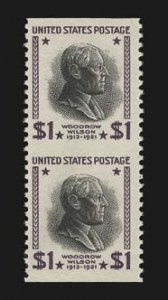Sale Number 826, Lot Number 830, Later Issues (Scott 807b-834A)$1.00 Presidential, 1938 Printing, Vertical Pair, Imperforate Horizontally (832a), $1.00 Presidential, 1938 Printing, Vertical Pair, Imperforate Horizontally (832a)
