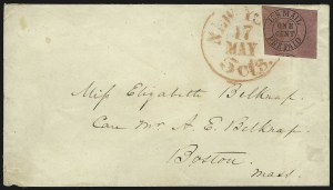 Sale Number 830, Lot Number 168, U.S. Mail, New York NYU.S. Mail, New York N.Y., 1c Black on Rose (6LB9), U.S. Mail, New York N.Y., 1c Black on Rose (6LB9)