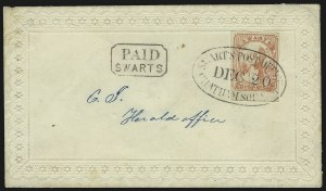 Sale Number 830, Lot Number 773, Swarts City Dispatch Post (New York NY)Swarts' City Dispatch Post, New York N.Y., (1c) Pink on Wove (136L10), Swarts' City Dispatch Post, New York N.Y., (1c) Pink on Wove (136L10)