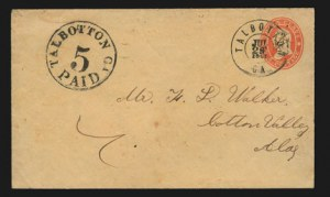 Sale Number 831, Lot Number 2202,  Postal Stationery UsagesTalbotton Ga., 5c Black entire (94XU1), Talbotton Ga., 5c Black entire (94XU1)