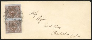 Sale Number 834, Lot Number 1044, Postmasters Provisionals (New Orleans thru Petersburg)New Orleans La., 5c Red Brown on Bluish (62X4), New Orleans La., 5c Red Brown on Bluish (62X4)