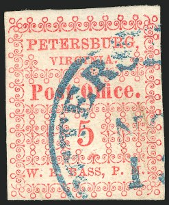 Sale Number 834, Lot Number 1046, Postmasters Provisionals (New Orleans thru Petersburg)Petersburg Va., 5c Red (65X1), Petersburg Va., 5c Red (65X1)