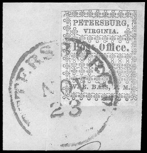 Sale Number 834, Lot Number 1047, Postmasters Provisionals (New Orleans thru Petersburg)Petersburg Va., 5c Red (65X1), Petersburg Va., 5c Red (65X1)