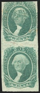 "Sale Number 834, Lot Number 1129, General Issues Off Cover (No. 13)20c Green, ""20"" on Forehead (13 var), 20c Green, ""20"" on Forehead (13 var)"