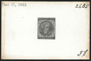 Sale Number 834, Lot Number 1140, General Issues Off Cover (Nos. 14, Balances)1c Black, Large Die Trial Color Proof on Glazed Card (14TC1), 1c Black, Large Die Trial Color Proof on Glazed Card (14TC1)