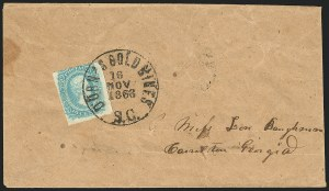 Sale Number 834, Lot Number 1256, General Issues On Cover (Nos. 11-12)10c Greenish Blue, Die A (11c), 10c Greenish Blue, Die A (11c)