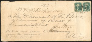 Sale Number 834, Lot Number 1307, General Issues On Cover (No. 13)20c Green (13), 20c Green (13)