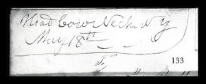 "Sale Number 834, Lot Number 133, Postal Markings by State and Territory (N.Y.)""Head of Cow Neck N.Y. May 18th"", ""Head of Cow Neck N.Y. May 18th"""