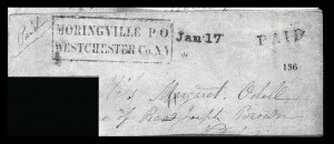 Sale Number 834, Lot Number 136, Postal Markings by State and Territory (N.Y.)Moringville P.O. Westchester Co. N.Y, Moringville P.O. Westchester Co. N.Y