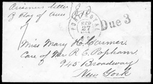 Sale Number 834, Lot Number 1394, Prisoner-of-War Mail from Confederate PrisonsCharleston S.C, Charleston S.C