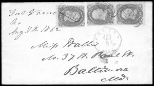 "Sale Number 834, Lot Number 1402, Prisoner-of-War Mail from Federal Prisons""Fort Warren Ma. Aug. 7th 1862"", ""Fort Warren Ma. Aug. 7th 1862"""