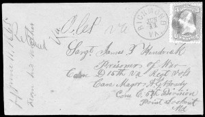 Sale Number 834, Lot Number 1409, Prisoner-of-War Mail from Federal PrisonsPoint Lookout, Point Lookout