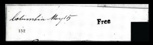 Sale Number 834, Lot Number 152, Postal Markings by State and Territory (Ohio to S.C.)Columbia May 15, Columbia May 15