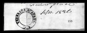 Sale Number 834, Lot Number 153, Postal Markings by State and Territory (Ohio to S.C.)Ebenezer Academy S.C. Sept. 11, Ebenezer Academy S.C. Sept. 11