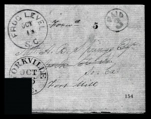 Sale Number 834, Lot Number 154, Postal Markings by State and Territory (Ohio to S.C.)Frog Level S.C. Oct. 12, Frog Level S.C. Oct. 12