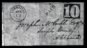 Sale Number 834, Lot Number 156, Postal Markings by State and Territory (Ohio to S.C.)Yorkville S.C. Apr. 13, Yorkville S.C. Apr. 13