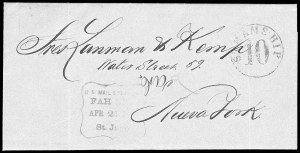 Sale Number 834, Lot Number 175, Waterway and Ship MarkingsU.S. Mail Steamship Fah Kee Apr. 21, 1866 St. Jago, U.S. Mail Steamship Fah Kee Apr. 21, 1866 St. Jago