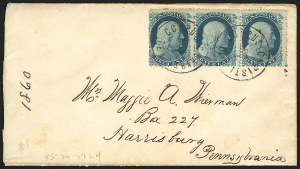 Sale Number 834, Lot Number 291, 1857-60 Issue (1c-3c)1c Blue, Ty. IIIa (22), 1c Blue, Ty. IIIa (22)
