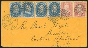 Sale Number 834, Lot Number 332, 1861-66 Issue (62B to 65)1c Blue, 3c Rose (63, 65), 1c Blue, 3c Rose (63, 65)