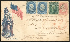 Sale Number 834, Lot Number 345, 1861-66 Issue (67 to 69)1c Blue, 3c Rose, 10c Green (63, 65, 68), 1c Blue, 3c Rose, 10c Green (63, 65, 68)
